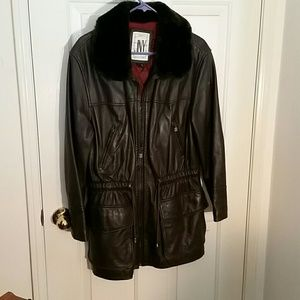 Jones of New York Leather Jacket Mid-Length, Med